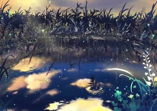 [夕暮れの池] イラスト