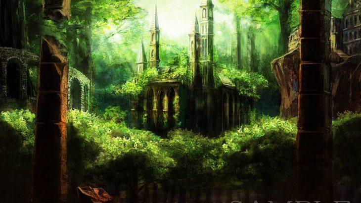 [オリジナル背景サンプル/森の中の神殿]イラスト